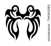 tribal tattoo art design... | Shutterstock .eps vector #744341083