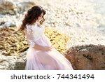 beautiful pregnant woman in... | Shutterstock . vector #744341494