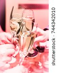 cheers. closeup of friends... | Shutterstock . vector #744342010