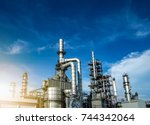 close up oil and gas refinery... | Shutterstock . vector #744342064