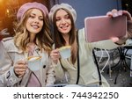 friendly selfie. portrait of... | Shutterstock . vector #744342250