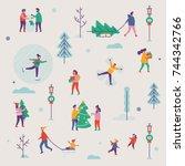 beautiful vector winter season... | Shutterstock .eps vector #744342766