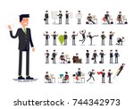 office worker in formal suit.... | Shutterstock .eps vector #744342973
