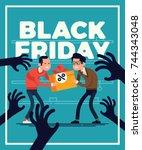 funny black friday flat... | Shutterstock .eps vector #744343048