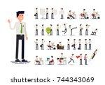 large set of vector flat... | Shutterstock .eps vector #744343069