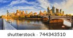 warm golden light over... | Shutterstock . vector #744343510