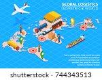 global logistics network flat... | Shutterstock .eps vector #744343513