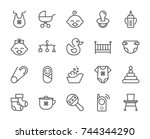 baby born pixel perfect icons... | Shutterstock .eps vector #744344290