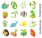 ecology icons set. isometric... | Shutterstock .eps vector #744344428
