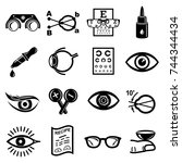 ophthalmologist icons set.... | Shutterstock .eps vector #744344434