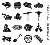 coal mine icons set. simple... | Shutterstock .eps vector #744344458