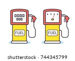 gas filling station fuel pump... | Shutterstock .eps vector #744345799