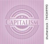 capitalism pink emblem. vintage. | Shutterstock .eps vector #744349990