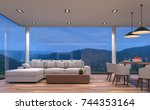 night scene glass house living... | Shutterstock . vector #744353164