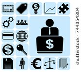set of 17 business high quality ... | Shutterstock .eps vector #744354304
