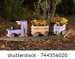 locomotive from wooden boxes... | Shutterstock . vector #744356020