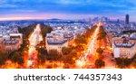 paris  france. panoramic view... | Shutterstock . vector #744357343