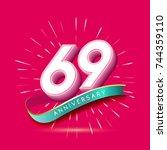 69 years anniversary logo... | Shutterstock .eps vector #744359110