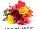 roses with heart isolated on white background - stock photo