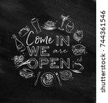 we are open monogram with food...   Shutterstock .eps vector #744361546
