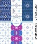 vector winter seamless patterns ... | Shutterstock .eps vector #744362680