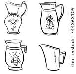 set of doodle vector jugs ... | Shutterstock .eps vector #744363109