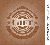 gift wood emblem. retro | Shutterstock .eps vector #744363166