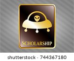 gold badge or emblem with ufo... | Shutterstock .eps vector #744367180