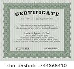 green classic certificate... | Shutterstock .eps vector #744368410
