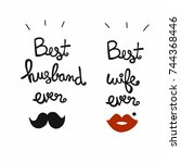 best husband and wife ever word ... | Shutterstock .eps vector #744368446