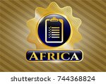 gold emblem or badge with list ... | Shutterstock .eps vector #744368824