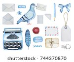 big mail set of different... | Shutterstock . vector #744370870