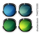 set of abstract rounded... | Shutterstock .eps vector #744373330