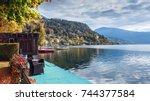 autumn in the town of millstatt ... | Shutterstock . vector #744377584