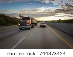 old semi truck with dump trailer | Shutterstock . vector #744378424