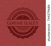 genuine quality red emblem.... | Shutterstock .eps vector #744379684