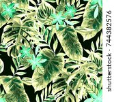 watercolor seamless pattern... | Shutterstock . vector #744382576