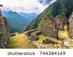 ancient ruins of winay wayna on ... | Shutterstock . vector #744384169