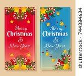 two banner christmas theme   Shutterstock .eps vector #744384634