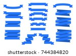 set of blue ribbons.... | Shutterstock . vector #744384820