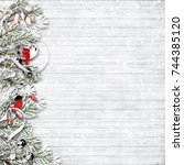 christmas snow fir tree with... | Shutterstock . vector #744385120