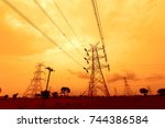 transmission line tower in india | Shutterstock . vector #744386584