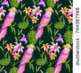 tropical cockatoo parrot... | Shutterstock .eps vector #744387988