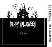 frame happy halloween on... | Shutterstock .eps vector #744388378