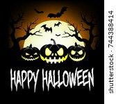 illustration happy halloween.... | Shutterstock .eps vector #744388414