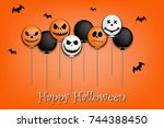banner happy halloween and... | Shutterstock .eps vector #744388450