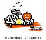 banner happy halloween and... | Shutterstock .eps vector #744388468