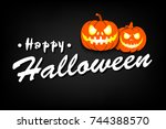 banner happy halloween on... | Shutterstock .eps vector #744388570