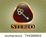 shiny badge with key icon and...   Shutterstock .eps vector #744388804