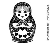 vector matryoshka doll with... | Shutterstock .eps vector #744389326